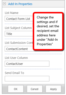 Simple Contact Form Settings
