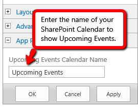Upcoming Events Calendar Settings