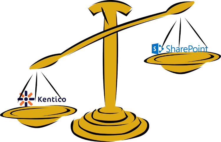 A comparison of two of Code A Site's picks for Best Intranet Solution: Kentico or SharePoint