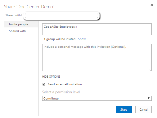 Enter the group name and select a permission level to finish setting up your SharePoint Security