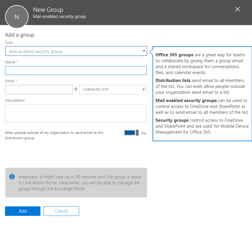 Select the Group Type in Office 365 to strengthen SharePoint Security