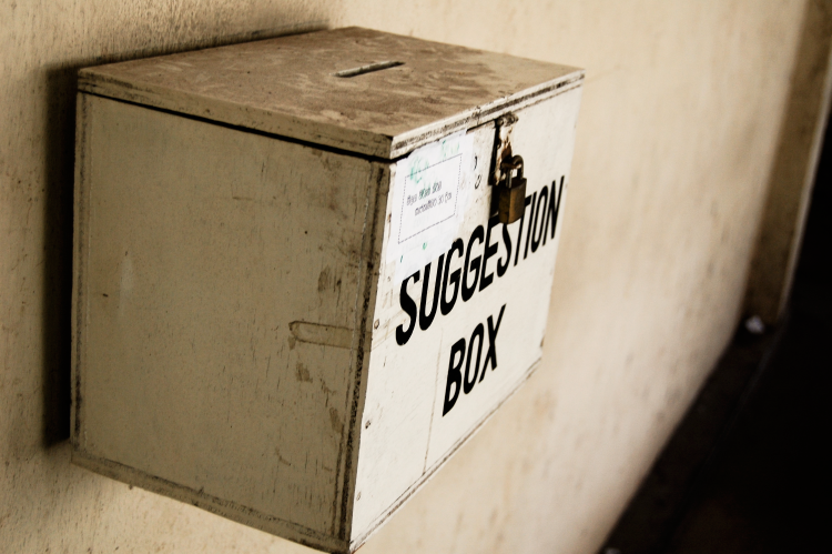 A company's suggestion box before they used Code A Site's Anonymous Contact Form add-in for SharePoint.