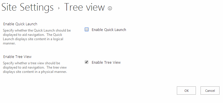 The settings page for the tree view allows you to turn the Quick launch and the Tree View on or off