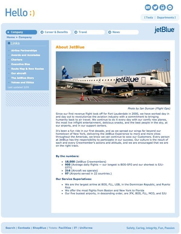 Code A Site loves JetBlue's intranet site!