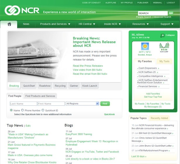 Check out NCR Corporation's stellar intranet site. Code A Site has!