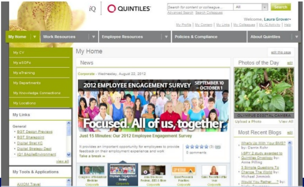 Code A Site loves Quintiles' intranet site